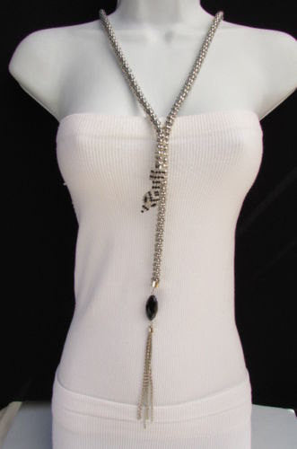 "New Women 20"" Long Fashion Necklace Silver Metal Snake Chains Belt Black Beads - alwaystyle4you - 5"