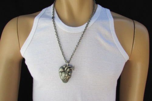 Biker Rocker Trendy Fashion New Men Long Necklace Rusty Silver Chain Big Human Heart - alwaystyle4you - 1