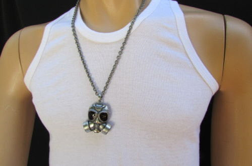 "Rusty Silver Chain 13"" Long Biker Necklace Gas Mask New Men Rocker Fashion Accessories"