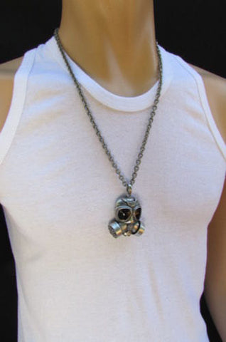 "Rusty Silver Chain 13"" Long Biker Necklace Gas Mask Brand New Men Rocker Fashion - alwaystyle4you - 1"