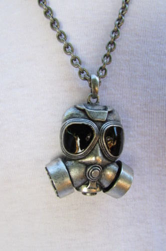 "Rusty Silver Chain 13"" Long Biker Necklace Gas Mask Brand New Men Rocker Fashion - alwaystyle4you - 5"