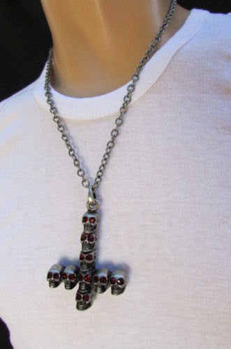 "Biker Fashion 14"" Long Necklace Rusty Silver Chain Skulls Cross Rocker Upside Down New Men Style - alwaystyle4you - 3"