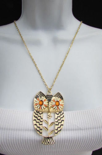 "New Women 17"" Extra Long Drop Classic Fashion Necklace Big Silver / Gold Metal Owl Rhinestones - alwaystyle4you - 3"