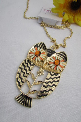 "New Women 17"" Extra Long Drop Classic Fashion Necklace Big Silver / Gold Metal Owl Rhinestones - alwaystyle4you - 5"
