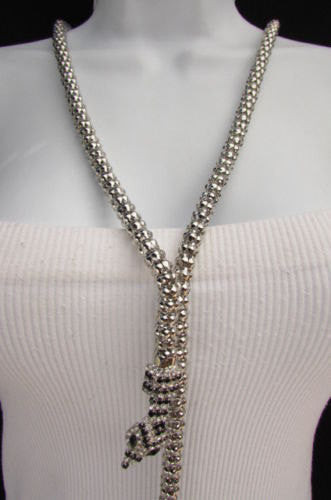 "New Women 20"" Long Fashion Necklace Silver Metal Snake Chains Belt Black Beads - alwaystyle4you - 3"