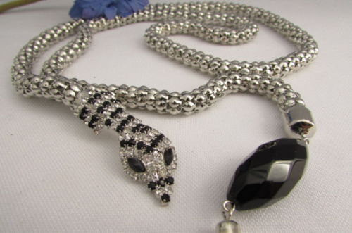 "New Women 20"" Long Fashion Necklace Silver Metal Snake Chains Belt Black Beads - alwaystyle4you - 4"