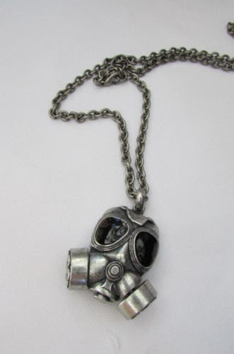 "Rusty Silver Chain 13"" Long Biker Necklace Gas Mask Brand New Men Rocker Fashion - alwaystyle4you - 2"