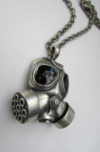 "Rusty Silver Chain 13"" Long Biker Necklace Gas Mask Brand New Men Rocker Fashion - alwaystyle4you - 4"