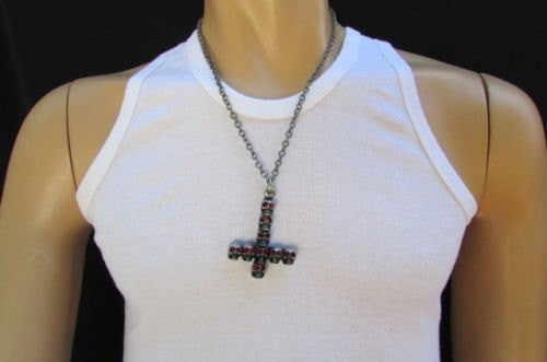 "Biker Fashion 14"" Long Necklace Rusty Silver Chain Skulls Cross Rocker Upside Down New Men Style - alwaystyle4you - 1"