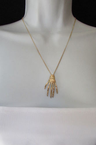 New women long fashion necklace gold thin classic chains skeleton hand skull Halloween - alwaystyle4you - 3