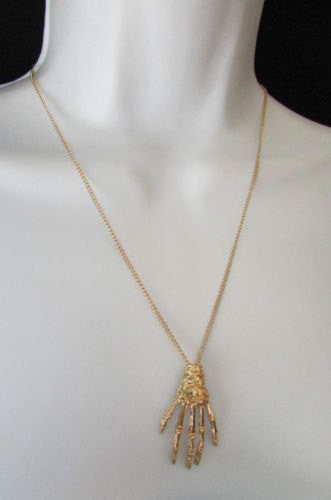 Gold Thin Long Metal Chain Skeleton Hand Skull Classic Halloween Necklace New Women Fashion Accessories