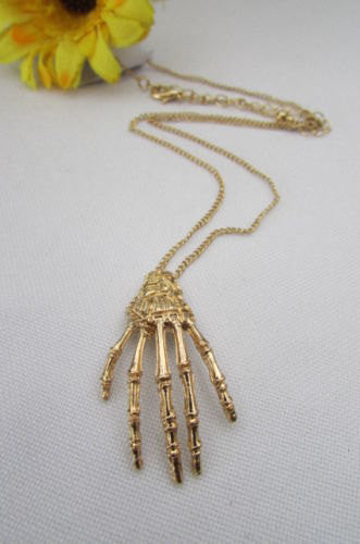 New women long fashion necklace gold thin classic chains skeleton hand skull Halloween - alwaystyle4you - 4