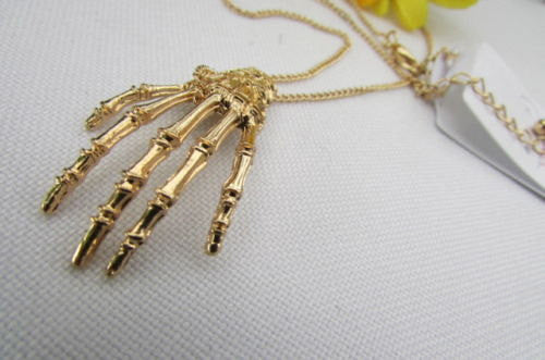 New women long fashion necklace gold thin classic chains skeleton hand skull Halloween - alwaystyle4you - 2