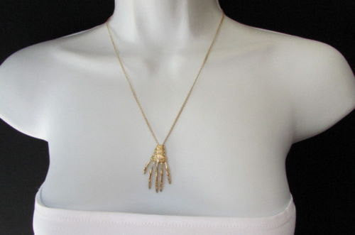 New women long fashion necklace gold thin classic chains skeleton hand skull Halloween - alwaystyle4you - 1