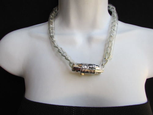 New women fashion necklace silver metal chunky chains number lock - alwaystyle4you - 1