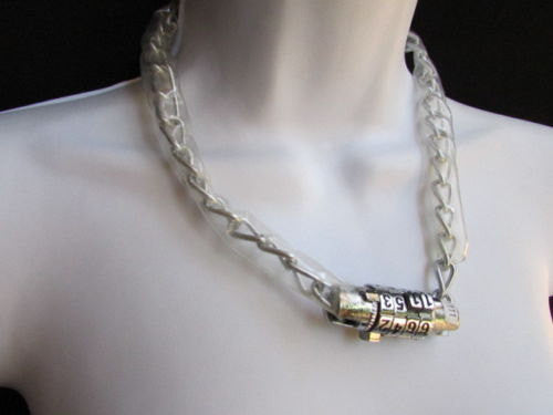 Silver Metal Chains Number Lock Chunky Necklace Biker Style New Women Fashion Accessories