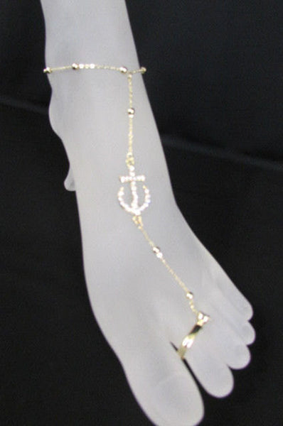 Gold Metal Toe Foot Chains Ring Anklet Big Anchor Nautical Charm Rhinestones Women Accessories
