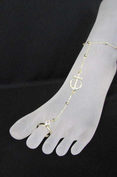 New Women Fashion Metal Toe Ring Anklet Gold Big Anchor Foot Chains Nautical Charm Rhinestones Beac Pool Jewelry - alwaystyle4you - 5