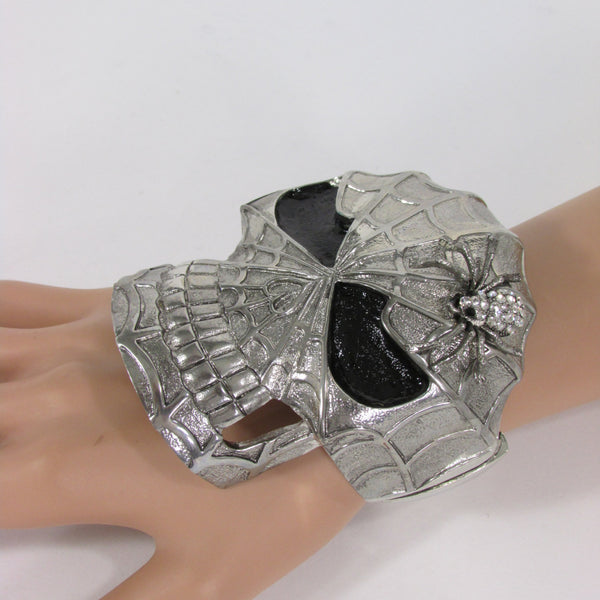Silver Metal Cuff Bracelet Large Skull Rhinestones Spider Net Mask Skeletons - Halloween New Women Fashion Jewelry