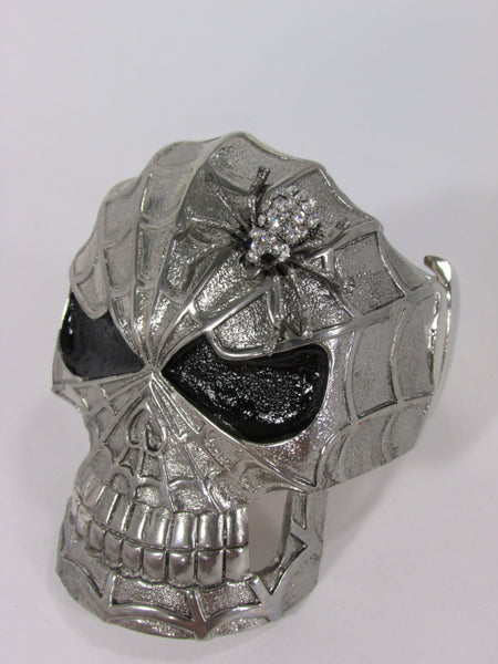 Silver Metal Cuff Bracelet Large Skull Rhinestones Spider Net Mask Skeletons - Halloween New Women Fashion Jewelry - alwaystyle4you - 3