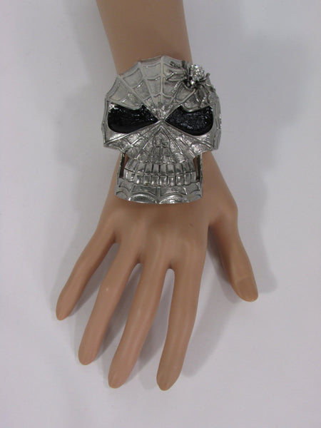 Silver Metal Cuff Bracelet Large Skull Rhinestones Spider Net Mask Skeletons - Halloween New Women Fashion Jewelry - alwaystyle4you - 2