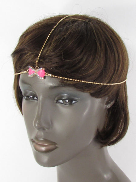 Brand New Women Junior Rhinestone Fashion Gold Chic Head Chain Center Bow Pink Head Band - alwaystyle4you - 2