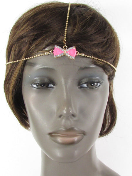 Brand New Women Junior Rhinestone Fashion Gold Chic Head Chain Center Bow Pink Head Band - alwaystyle4you - 1