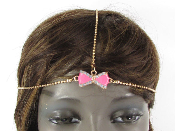 Gold Head Chain Rhinestone Pink Black Yellow Green Purple Center Bow Women Junior Accessories