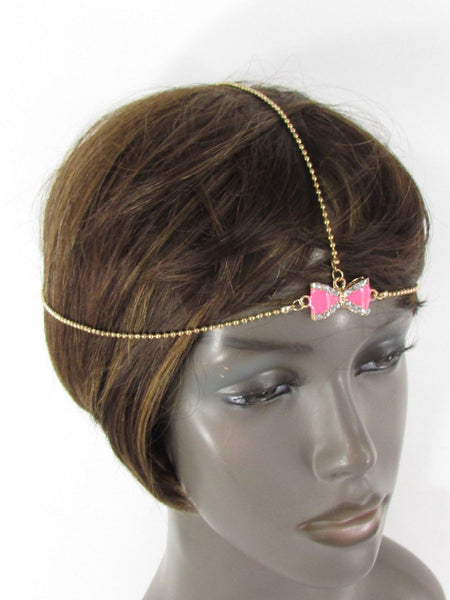 Brand New Women Junior Rhinestone Fashion Gold Chic Head Chain Center Bow Pink Head Band - alwaystyle4you - 5