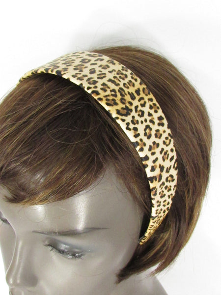 Beige Brown Animal Print Leopard Head Wide Band Chic New Women Trendy Fashion Jewelry Accessories
