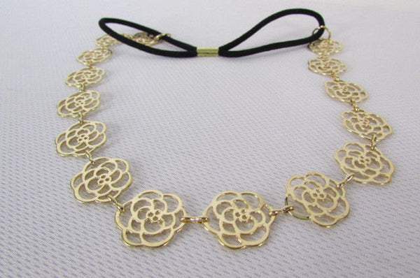 Brand New Women Gold Metal Flowers Chic Head Band Chain Fashion Jewelry Black Elastic Band - alwaystyle4you - 3