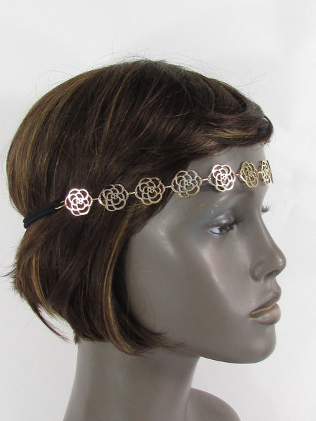 Brand New Women Gold Metal Flowers Chic Head Band Chain Fashion Jewelry Black Elastic Band - alwaystyle4you - 2