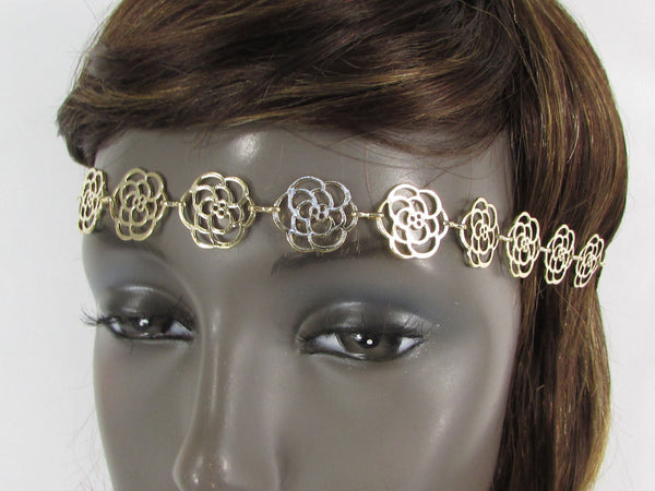 Gold Metal Head Band Chain Black Elastic Band Multi Flowers Women Fashion Jewelry Accessories
