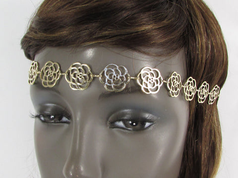 Brand New Women Gold Metal Flowers Chic Head Band Chain Fashion Jewelry Black Elastic Band - alwaystyle4you - 1