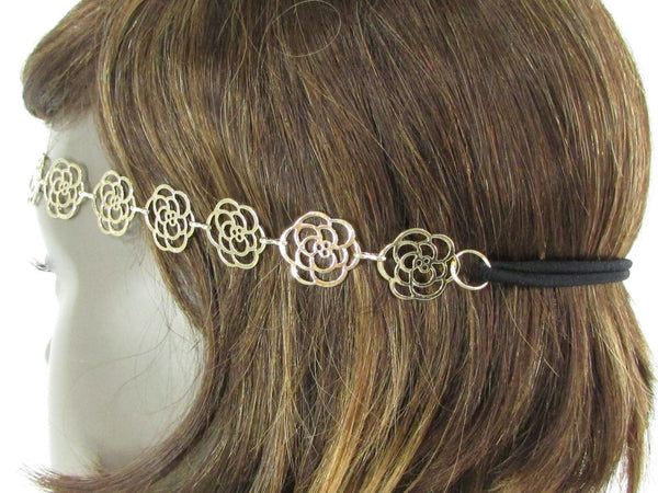 Brand New Women Gold Metal Flowers Chic Head Band Chain Fashion Jewelry Black Elastic Band - alwaystyle4you - 5