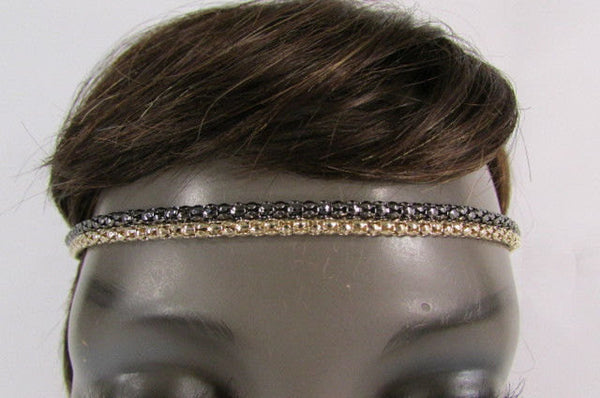 Brand New Women One Size Gold Gunmetal Mesh Metal Head Band Chain Fashion Jewelry Elastic Band - alwaystyle4you - 5