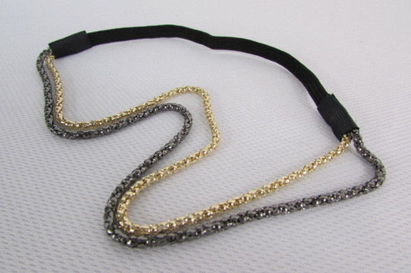 Brand New Women One Size Gold Gunmetal Mesh Metal Head Band Chain Fashion Jewelry Elastic Band - alwaystyle4you - 2