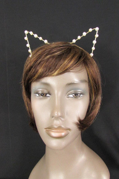 Gold Metal Fashion Head Band Small Animals Ears Cream Imitation Pearl Beads Brand New Women