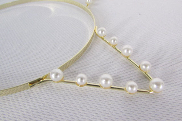 Brand New Women Gold Metal Fashion Head Band Small Animals Ears Cream Imitation Pearl Beads - alwaystyle4you - 2