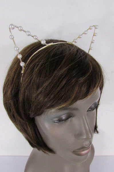 Brand New Women Gold Metal Fashion Head Band Small Animals Ears Cream Imitation Pearl Beads - alwaystyle4you - 5