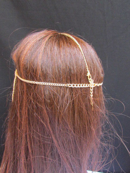 One Size Brand New Women Gold Fashionable Long Front Fringes Metal Head Chains Hair Piece Jewelry - alwaystyle4you - 3