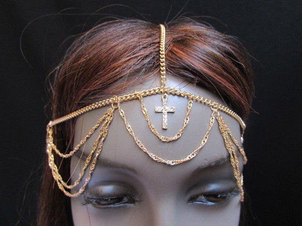 One Size Brand New Women Gold Cross Metal Wave Head Chain Fashion Hair Piece Jewelry Rhinestone - alwaystyle4you - 5