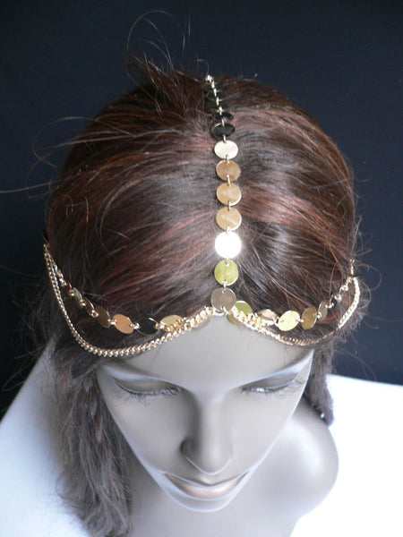 One Size New Women Gold Chic Headband Head Waves Metal Chain Jewelry Hair Piece Trendy Fashionable - alwaystyle4you - 4