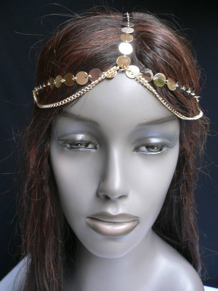 One Size New Women Gold Chic Headband Head Waves Metal Chain Jewelry Hair Piece Trendy Fashionable - alwaystyle4you - 1