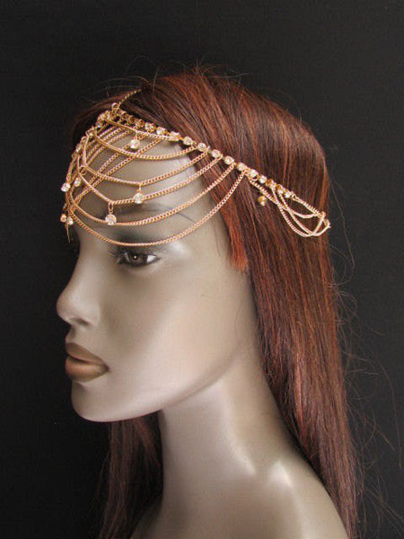 One Size Brand New Women Gold Metal Trendy Forehead Head Chain Fashion Hair Jewelry  Silver  Rhinestones - alwaystyle4you - 3