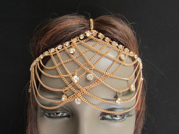 One Size Brand New Women Gold Metal Trendy Forehead Head Chain Fashion Hair Jewelry  Silver  Rhinestones - alwaystyle4you - 1