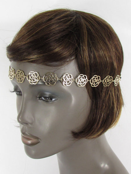Brand New Women Gold Metal Flowers Chic Head Band Chain Fashion Jewelry Black Elastic Band - alwaystyle4you - 4