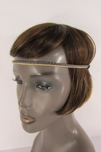 Brand New Women One Size Gold Gunmetal Mesh Metal Head Band Chain Fashion Jewelry Elastic Band - alwaystyle4you - 4