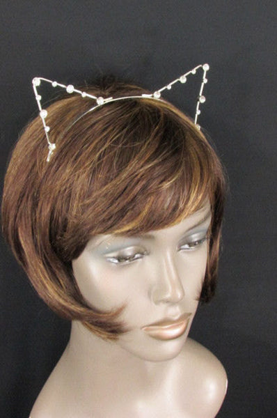 Brand New Women Silver Metal Fashion Head Band Small Animal Big Rihnestones Cat Ears - alwaystyle4you - 3