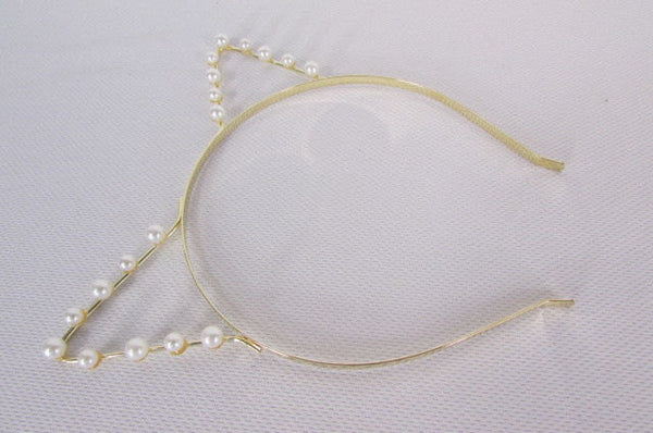 Brand New Women Gold Metal Fashion Head Band Small Animals Ears Cream Imitation Pearl Beads - alwaystyle4you - 4
